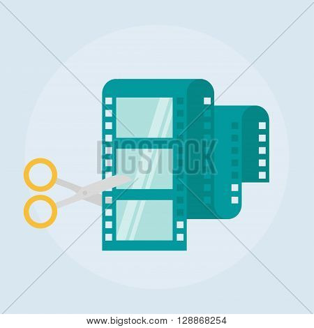 Video editing flat vector icon. Film editing design icon isolated from the background Video edit concept icons in flat style. Video production simple flat icon. Scissors and film strip illustration. poster