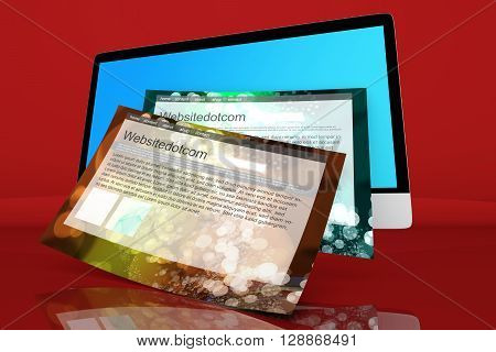 A modern All in one computer with generic websites coming out of the screen. 3D Illustration.