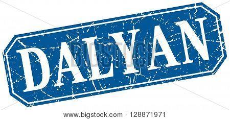 Dalyan blue square grunge retro style sign