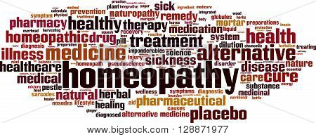 Homeopathy word cloud concept. Vector illustration on white