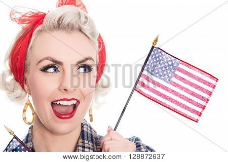 Excited Retro Woman Celebrates 4Th July, Isolated On White