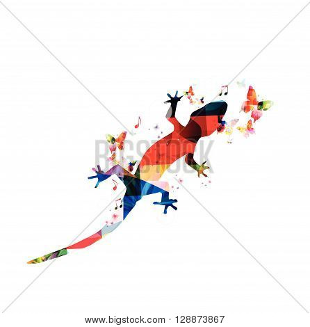 Vector illustration of colorful gecko with butterflies