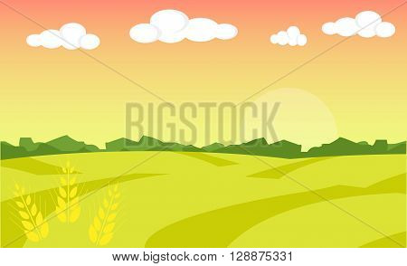 Farm landscape. Farm landscape illustration. Field wheat background. Farm sunrise background. Vector illustration
