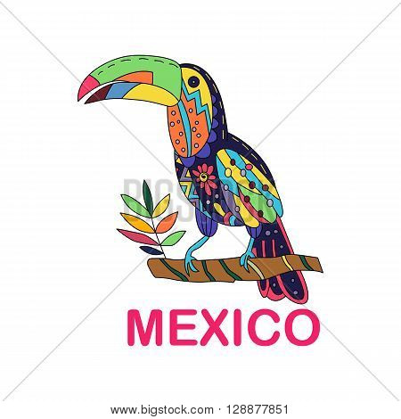 Isolated vector image of Mexican bird. Toucan sitting on a branch. Traditional Mexican birdl in colorful colors and flowers. Vector illustration.