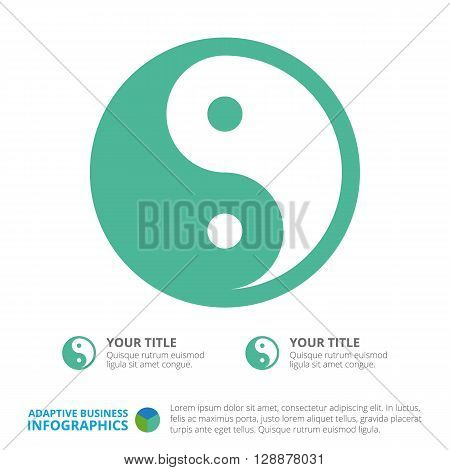 Yin and Yang diagram template with titles and sample text for business presentation poster