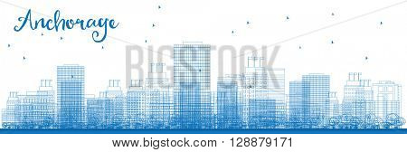 Outline Anchorage (Alaska) Skyline with Blue Buildings. Business and tourism concept with place for text. Image for presentation, banner, placard and web site