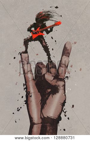 big hand in rock n roll sign with guitarist, illustration painting