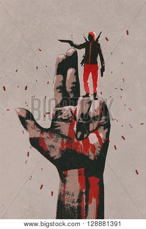 big hand in gun sign with man shooting gun, illustration painting