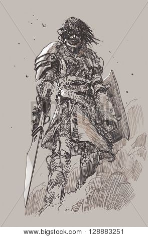 futuristic knight with blade, drawing, sketch illustration