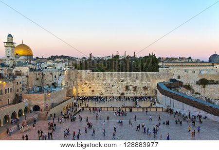 Jerusalem Israel - November 2 2010: People on the square in front of the Western Wall