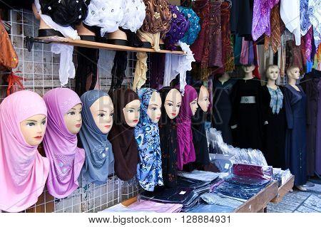 Jerusalem Israel - November 3 2010: Dummies in a market in the Arab quarter