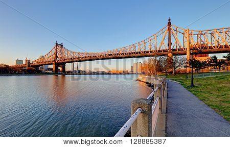Queensboro Bridge New York City at sunrise.