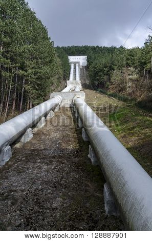 Water pipeline transporting water down to a valley accumulation station, Pancharevo, Bulgaria