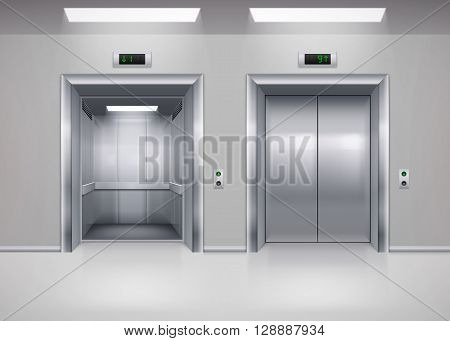 Open and Closed Modern Metal Elevator Doors. Hall Interior in Gray Colors