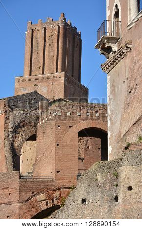 Torre delle Milizie (Tower of the Militia) a medieval tower built over Trajan's Market ruins in Imperial Fora one of the main medival monuments of Rome