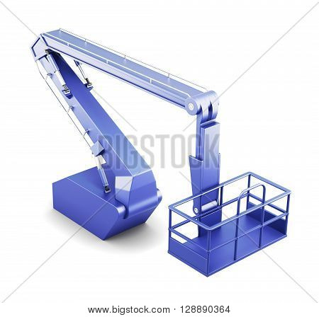 Mechanical lift vehicle - cherry picker isolated on white background. 3d rendering.