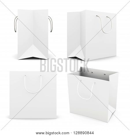 Set of white paper bag isolated on white background. Front view. Side view. Bag for purchase. Paper white bag for your design 3d render image