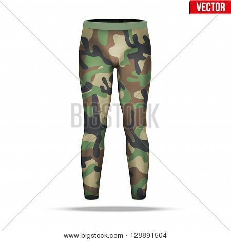 Base layer underwear compression pants of thermal fabric in woodland camouflage style. Sample typical technical illustration.  Vector Illustration isolated on white background