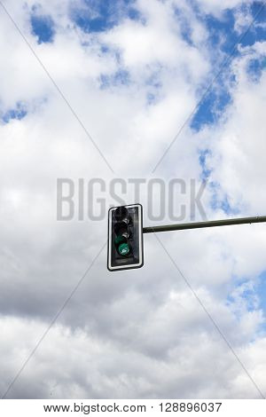 Image Of Traffic Lights While Green Light On.