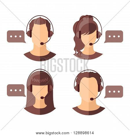 Male and female call center avatars with headset and speech bubbles.  Client services and communication. Call center avatar icons. Vector illustration