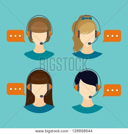 Female call center avatars with headset and speech bubbles.  Client services and communication. Call center avatar icons. Vector illustration