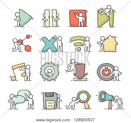 Multimedia icons set with working little people. Doodle cute miniature scenes of workers with buttons. Hand drawn cartoon vector illustration for media buttons.