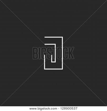 Monogram J Logo, Clean Liner Business Card Geometric Shape Emblem, Thin Line Black And White Initial