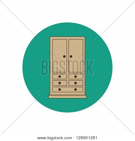 Armoire wardrobe ilustration. Furniture icon. Vector illustration