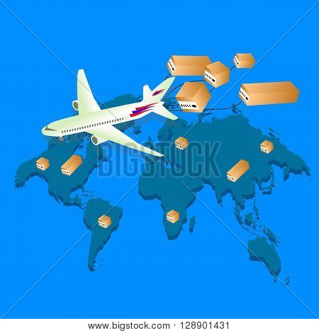 Global Logistic network. Logistics concept. Logistics Vector. Logistics transportation. Logistics isometric. Logistics 3d. Logistic background. Plane flies with boxes. Vector illustration