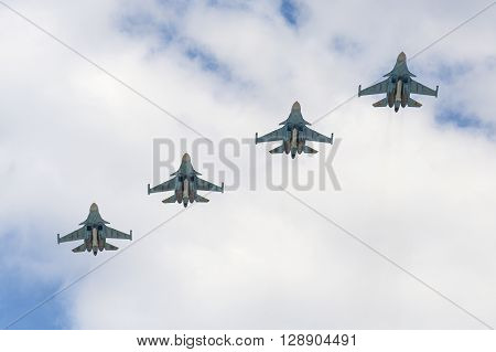 Sukhoi Su-34 Fullback Aircrafts Fly Over Red Square.
