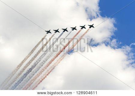 The Soviet Attack Aircraft Su-25 Frogfoot Producedsmoke Three Colors