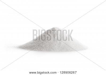 Glucosamine nutritional supplement powder on white background