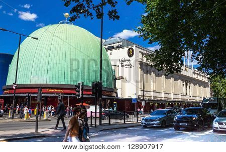LONDON UK - JUNE 7 2015: Madame Tussauds wax museum in London. Madame Tussauds London is famous for recreating famous people and celebrities in wax. It is located in the former London Planetarium.
