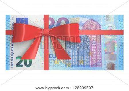 Wad of 20 Euro banknotes with red bow gift concept. 3D rendering