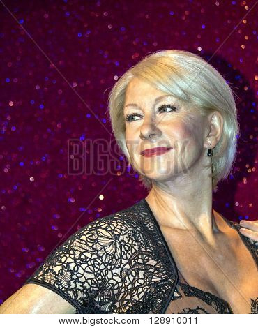 LONDON UK - JUNE 7 2015: The famous British actress Helen Mirren Madame Tussauds wax museum in London. Marie Tussaud was born as Marie Grosholtz in 1761