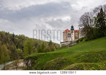 View of renaissance castle in Pieskowa Skala on a cloudy day Poland