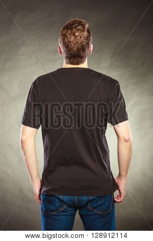 Back View Man Guy In Blank Shirt With Copy Space.