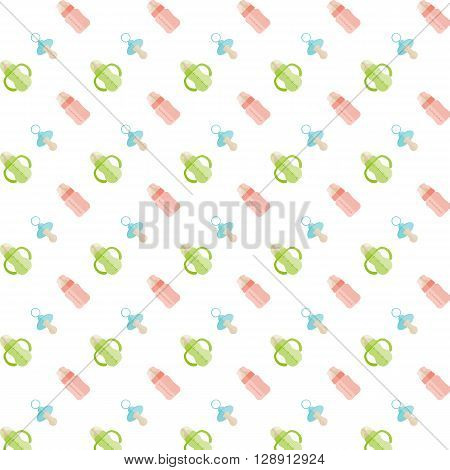 Baby Feeding bottle and nipple. Pattern. Seamless vector illustration. Swatch inside.
