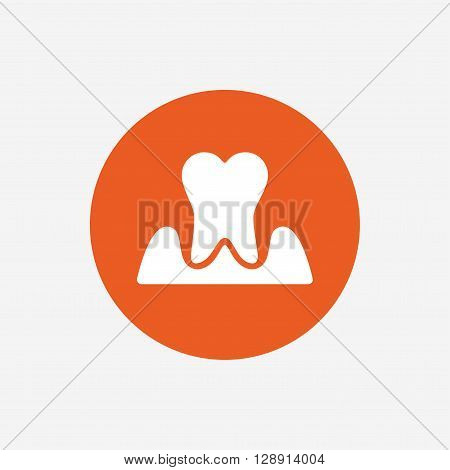 Parodontosis tooth icon. Gingivitis sign. Inflammation of gums symbol. Orange circle button with icon. Vector