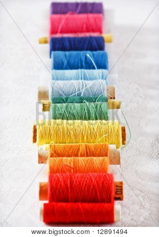multicolored coils of strings