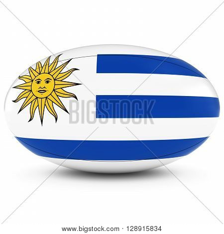 Uruguay Rugby - Uruguayan Flag On Rugby Ball On White - 3D Illustration