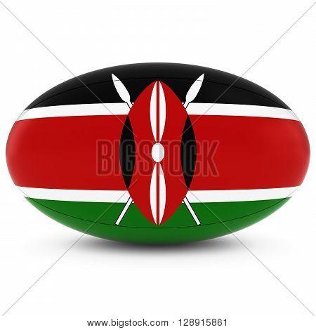 Kenya Rugby - Kenyan Flag On Rugby Ball On White - 3D Illustration