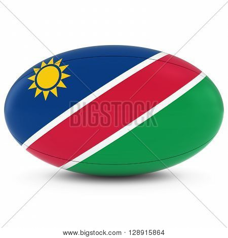 Namibia Rugby - Namibian Flag On Rugby Ball On White - 3D Illustration