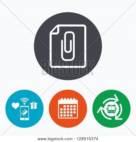 File annex icon. Paper clip symbol. Attach symbol. Mobile payments, calendar and wifi icons. Bus shuttle.
