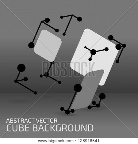 Digital abstract shape. Cube figure with points shapes and lines. Modern technology illustration for web and print design. Polygonal structure. Tech element concept. Wireframe form. Vector mesh.