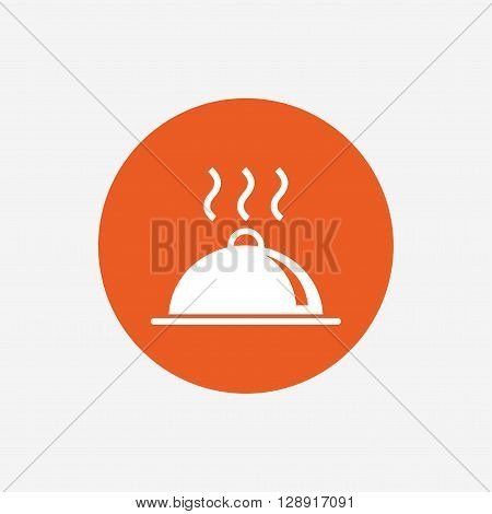 Food platter serving sign icon. Table setting in restaurant symbol. Hot warm meal. Orange circle button with icon. Vector