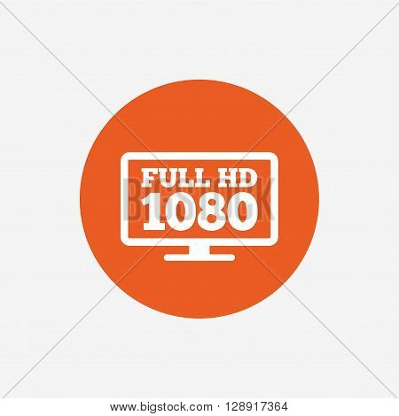 Full hd widescreen tv sign icon. 1080p symbol. Orange circle button with icon. Vector