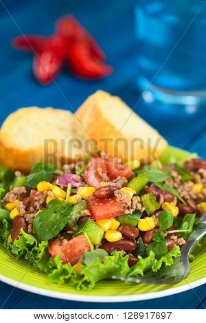Chili con carne salad made of mincemeat kidney beans watercress green bell pepper tomato sweet corn and red onions served on lettuce on a plate with fork and baguette slices (Selective Focus Focus in the middle of the salad)