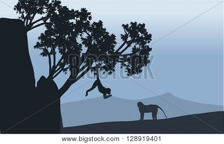 silhouette of monkey in fields with gray bakcgrounds