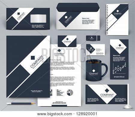 Professional universal luxury branding design kit. Premium corporate identity template. Business stationery mock-up. Editable vector illustration: folder, cup, etc.